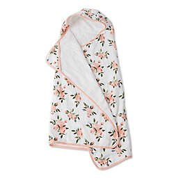 Little Unicorn Watercolor Roses Hooded Towel in Pink