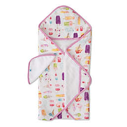 Little Unicorn Brain Freeze 2-Piece Hooded Towel and Washcloth Set in Pink/White