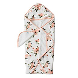 Little Unicorn Watercolor Roses 2-Piece Hooded Towel and Washcloth Set in Pink