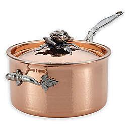 Ruffoni Opus Cupra 3.75 qt. Copper Covered Saucepan with Helper Handle