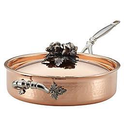 Ruffoni Opus Cupra 3 qt. Copper Covered Saute Pan with Helper Handle