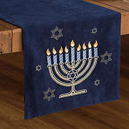 C & F Home Light Up Menorah Table Runner in Navy