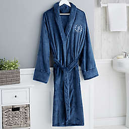 Floral Wreath Embroidered Luxury Fleece Robe in Navy