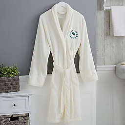 Floral Wreath Embroidered Luxury Fleece Robe