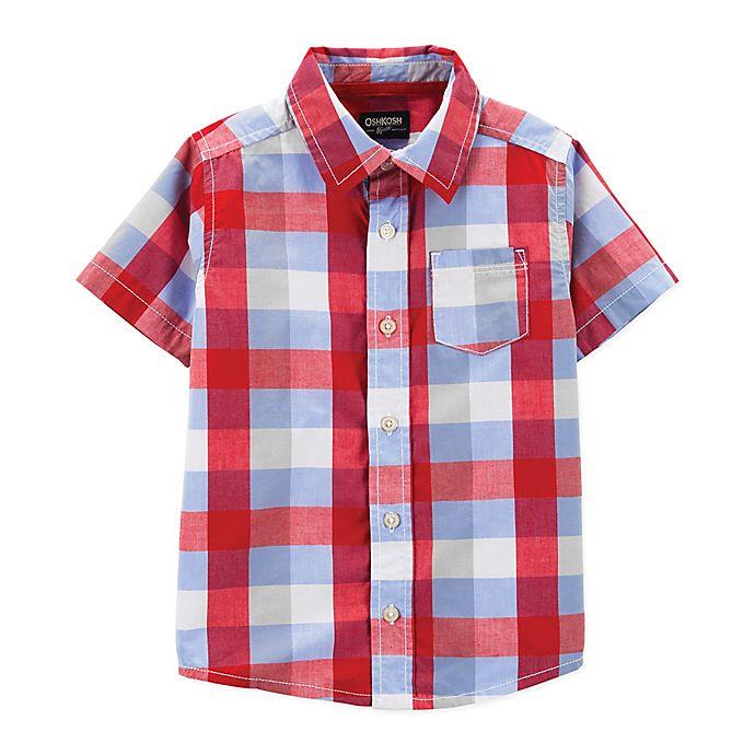 Alternate image 1 for OshKosh B'gosh® Plaid Button-Front Shirt in Red/White/Blue