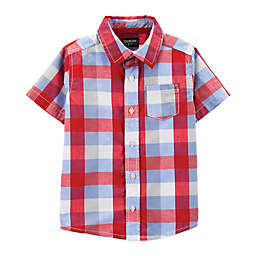 OshKosh B'gosh® Plaid Button-Front Shirt in Red/White/Blue