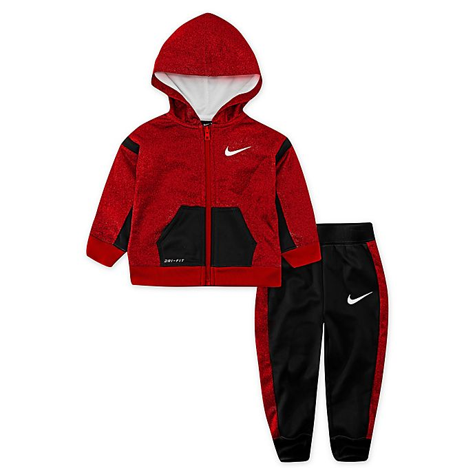 Alternate image 1 for Nike® 2-Piece Speckled Therma Toddler Hoodie and Jogger Set in Red