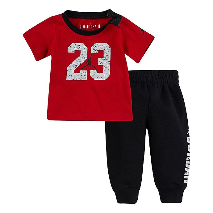 Alternate image 1 for Jordan® 2-Piece Long Sleeve Toddler Top and Jogger Set in Black/Red
