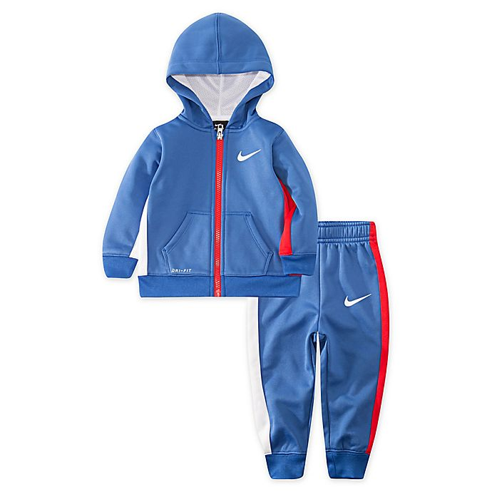 Alternate image 1 for Nike® 2-Piece Asymmetrical Therma Hoodie and Jogger Set in Blue