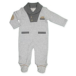 Clasix Beginnings™ by Minibasix® Shawl Collar Footed Coverall in Grey