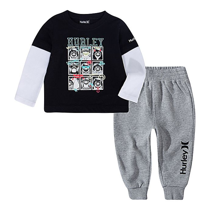 Alternate image 1 for Hurley 2-Piece Shark Crew Layered Shirt and Pant Set in Black