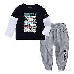 Hurley 2-Piece Shark Crew Layered Shirt and Pant Set in Black