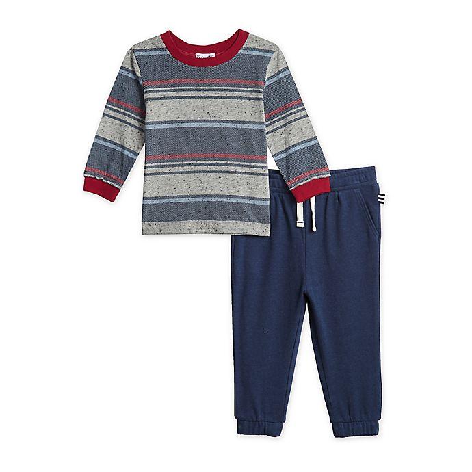 Alternate image 1 for Splendid® 2-Piece Navy Stripe Shirt and Sweatpant Set