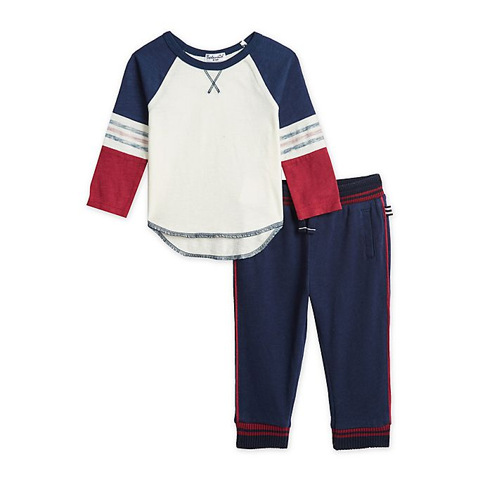 Alternate image 1 for Splendid® 2-Piece Shirt and Piped Jogger Set in Navy/Red