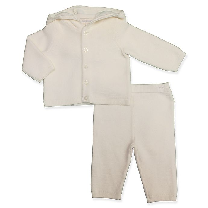 Alternate image 1 for Clasix Beginnings™ by Minibasix® 2-Piece Hooded Sweater Cardigan and Pant Set in Ivory