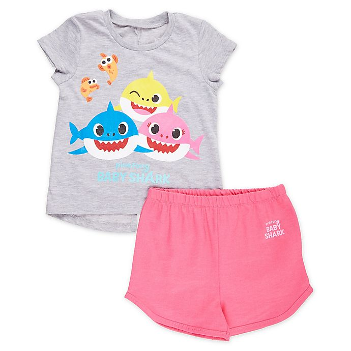 Alternate image 1 for Baby Shark Shorts in Grey/Pink