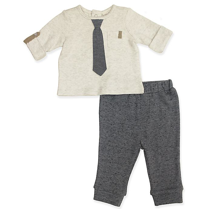 Alternate image 1 for Clasix Beginnings™ by Minibasix® 2-Piece Tie Top and Pant Set in Grey