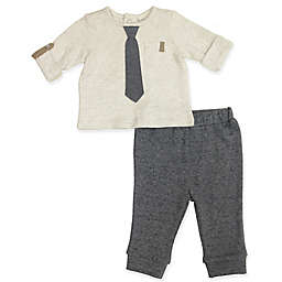 Clasix Beginnings™ by Minibasix® Newborn 2-Piece Tie Top and Pant Set in Grey
