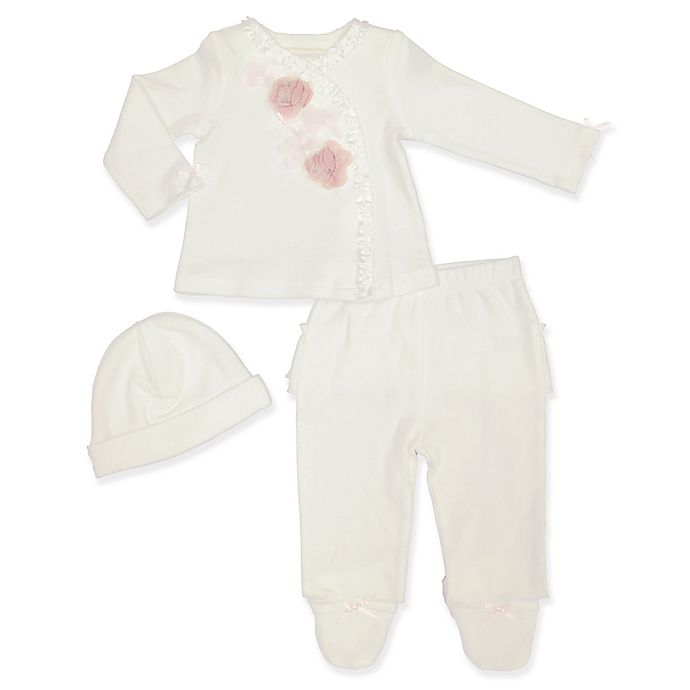 Alternate image 1 for Clasix Beginnings™ by Minibasix® 3-Piece Top, Footed Pant, and Hat Set in Ivory