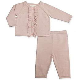 Clasix Beginnings™ by Minibasix® Ruffled Cardigan and Pant Set in Mauve