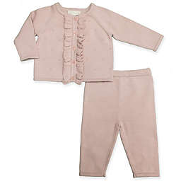 Clasix Beginnings™ by Minibasix® Ruffled Cardigan and Pant Set in Mauve