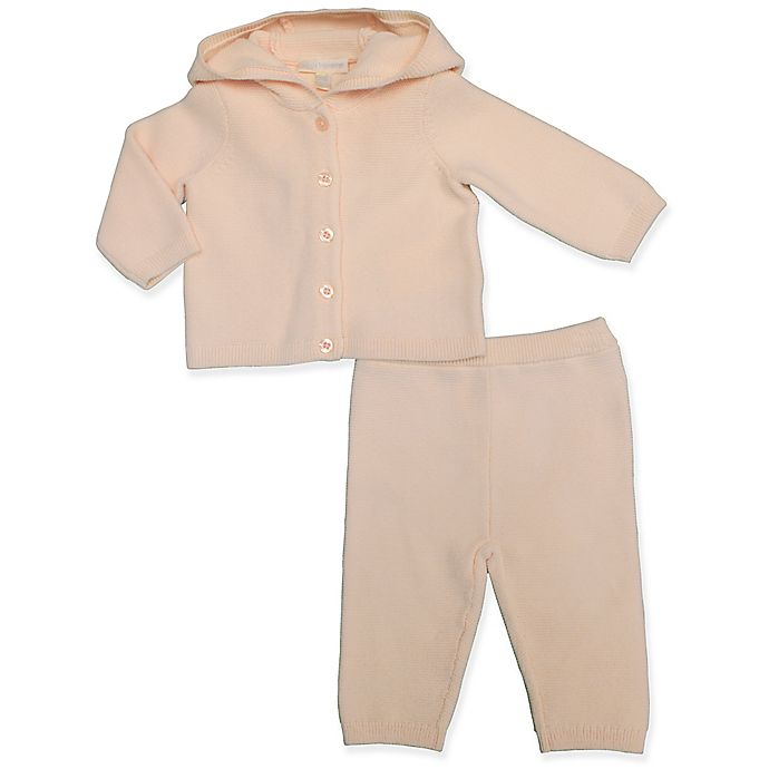 Alternate image 1 for Clasix Beginnings™ by Minibasix® Hooded Sweater Cardigan and Pant Set in Pink