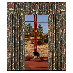 Oak Camo Window Curtain Panel Pair and Valance