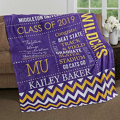 School Memories Graduation Fleece Throw Blanket