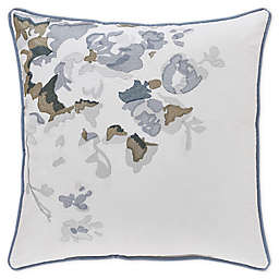 Piper & Wright Frances Embroidered Roses Throw Pillow in Blue