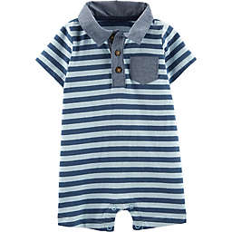 carter's® Short Sleeve Striped Polo Romper in Blue