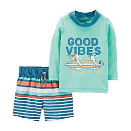 1da303631 carter s® 2-Piece Beach Vibes Rashguard Set in Green