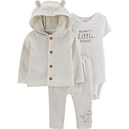 carter's® Preemie 3-Piece Lil' Peanut Bodysuit, Cardigan, and Pant Set in Grey