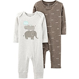 carter's® Preemie 2-Pack Words and Hippo Coveralls