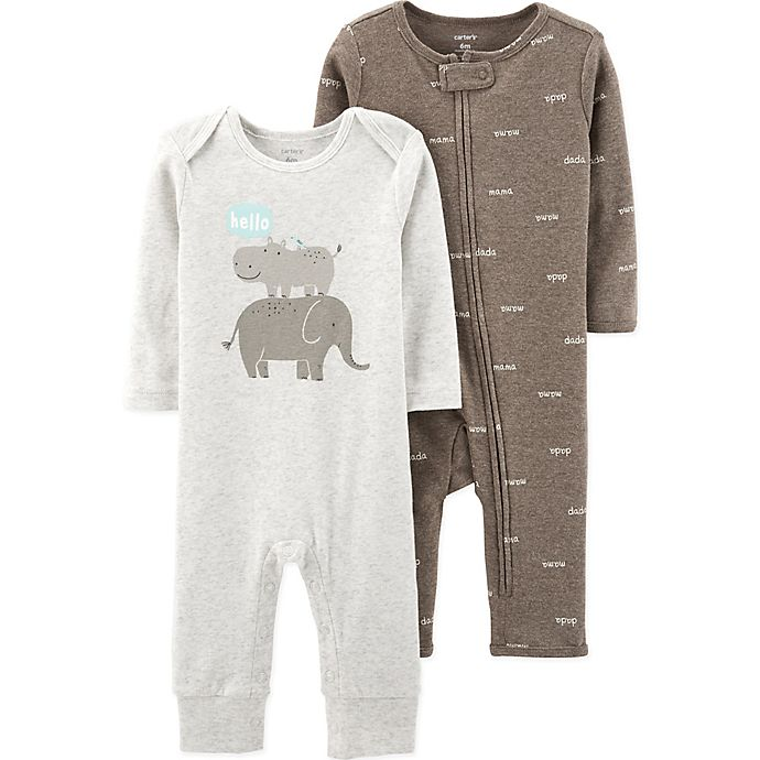 Alternate image 1 for carter's® Preemie 2-Pack Words and Hippo Coveralls