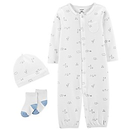 carter's® Preemie 3-Piece Giraffe Converter Gown, Hat, and Sock Set in Ivory