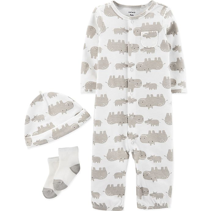 Alternate image 1 for carter's® Preemie 3-Piece Hippo Converter Gown, Hat, and Sock Set in Ivory
