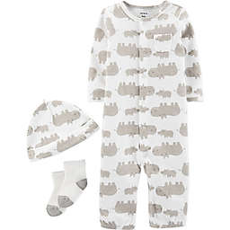 carter's® Preemie 3-Piece Hippo Converter Gown, Hat, and Sock Set in Ivory
