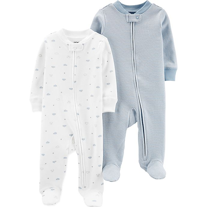 Alternate image 1 for carter's® Preemie 2-Pack Cloud Footies in Blue