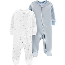 carter's® Preemie 2-Pack Cloud Footies in Blue
