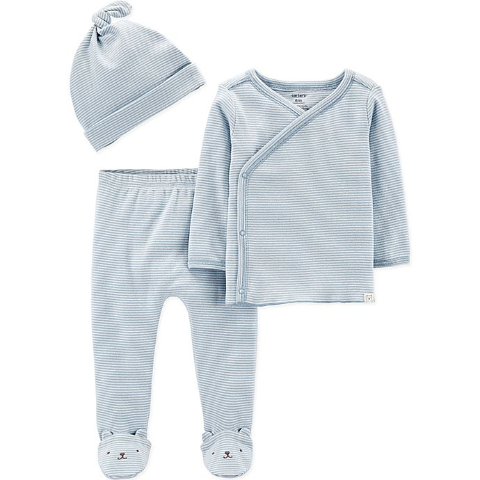 Alternate image 1 for carter's® Preemie 3-Piece Kimono Top, Footed Pant and Cap Set in Blue