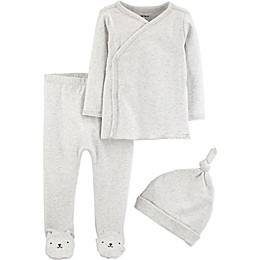 carter's® Preemie 3-Piece Kimono Top, Footed Pant and Cap Set in Light Grey