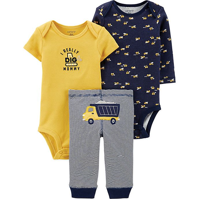 Alternate image 1 for carter's® Preemie 3-Piece Construction Bodysuits and Pant Set in Navy/Yellow