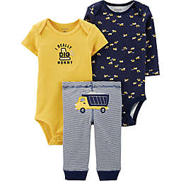 carter's® Preemie 3-Piece Construction Bodysuits and Pant Set in Navy/Yellow