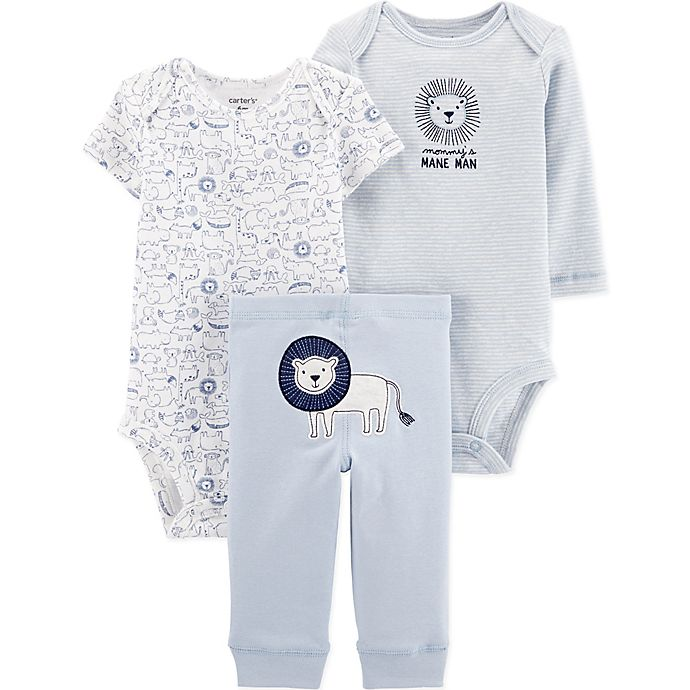 Alternate image 1 for carter's® Preemie 3-Piece Lion Bodysuits and Pant Set in Blue/White