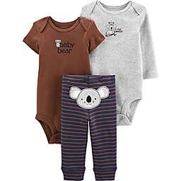 carter's® Preemie 3-Piece Koala Bodysuits and Pant Set in Navy/Brown