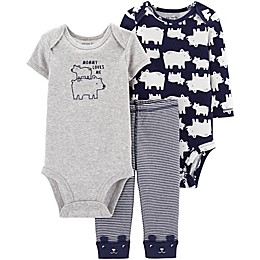 carter's® Preemie 3-Piece Polar Bear Bodysuits and Pant Set in Navy/Heather
