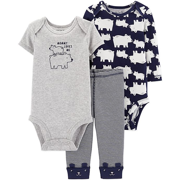 Alternate image 1 for carter's® Preemie 3-Piece Polar Bear Bodysuits and Pant Set in Navy/Heather