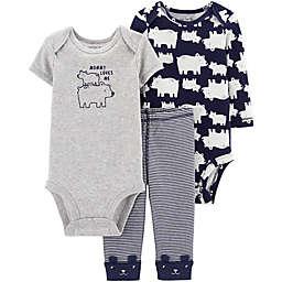 carter's® Preemie 3-Piece Polar Bear Bodysuits and Pant Set in Navy/Heather