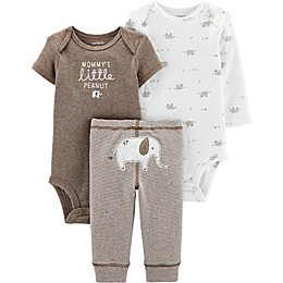 carter's® Preemie 3-Piece Peanut Bodysuits and Pant Set in Brown/Ivory