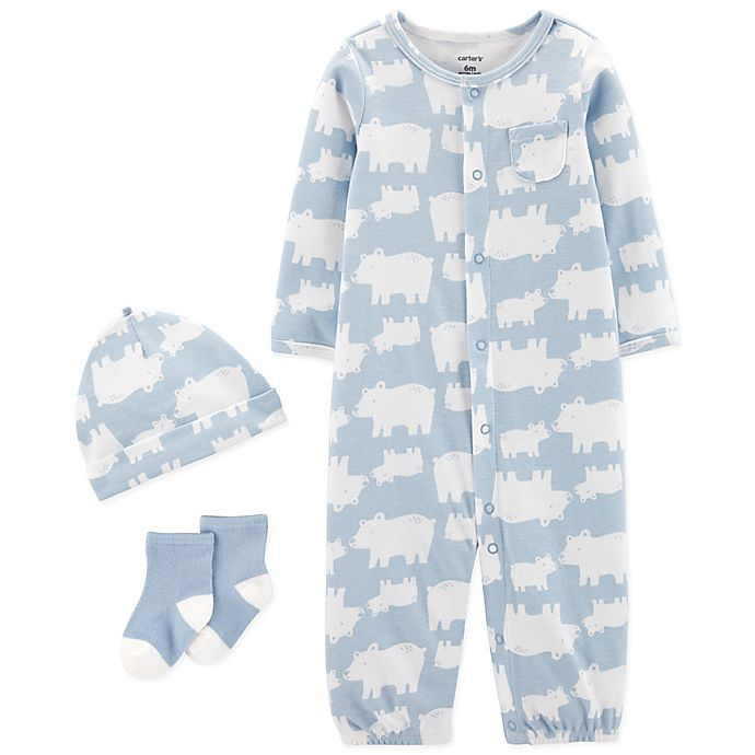 Alternate image 1 for carter's® Preemie 3-Piece Hippo Converter Gown, Hat, and Socks Set in Blue/Ivory